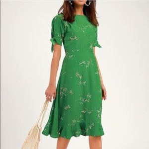 Faithfull the Brand Emilia Dress in Green, Size XS